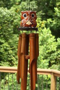 Handmade Wooden Standing Owl Bamboo Wind Chime Wood Hoot Patio Garden Outdoor