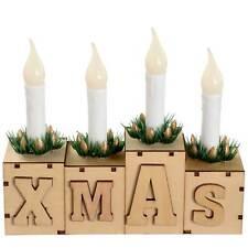 White Shabby Chic 32cm Pre-lit Wooden 5 LED Candle Bridge Christmas ...