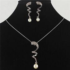 Costume Necklace Earring Set Pearl Wavy Jewelry Set Crystal Jewelry Women Bride