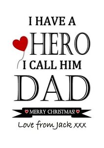 Image Is Loading Fathers Day Dad Gift Print Daddy Hero Love