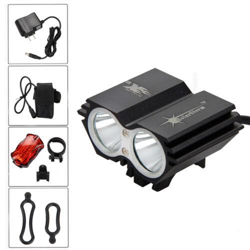 6000lm SolarStorm 2x XM-L T6 Head Front Bicycle Bike Light  Rear Lamp 6400mAh CH