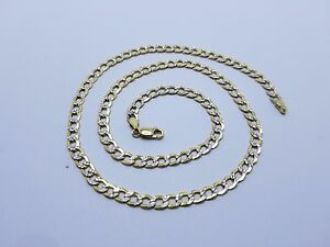 """10K Two Tone Hollow 5mm Cuban Link Diamond Cut Pave Chain Necklace 18/""""-30/"""""""