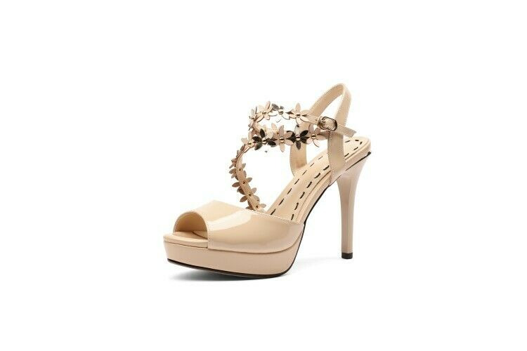 Occident sandals stilettos high heels ankle strappy open toe donna flowers plu