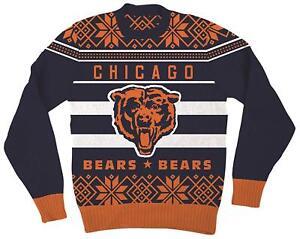 Nfl Chicago Bears Logo Adult Navy Football Ugly Christmas Sweater Ebay
