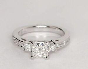 3f9c3f7adf64e 1.5Ct Princess cut Square Shape DVVS1 Diamonds Solitaire 3 three ...