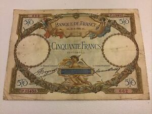 Banque De France. France Banknote. 50 Francs. Dated 1934. French Vintage Note