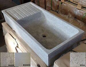 Lavandino lavello acquaio pilozzo in graniglia di marmo cemento cm90 110 pietra ebay - Lavello cucina resina ...