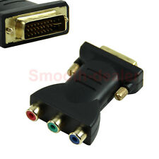 Standard DVI-I 24+5 Male to Black 3 RCA Female Connector Converter Adapter