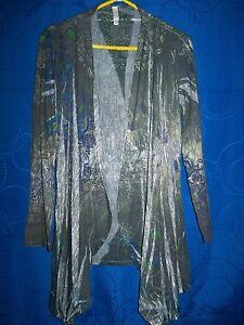 XHILARATION-Long-Multi-Color-Floral-Design-Cardigan-Style-Knit-Top-size-L