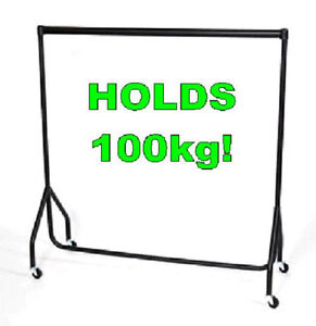 SUPER HEAVY DUTY BLACK CLOTHES RAIL 6ft WIDE AND 6FT TALL GARMENT RAIL