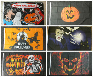 HALLOWEEN-PARTY-5x3-Flag-Ghost-Vampire-Bats-Witch-Skull-Pumpkin-Monster-Skeleton
