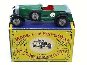 Matchbox-Lesney-Y5-1-Le-Mans-Bentley-en-tipo-039-A-039-Caja-raro-Gris-Doblado-Techo