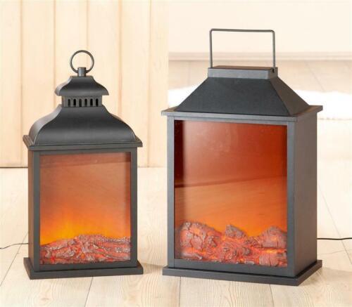 Gilde Metall LED Laterne Kaminoptik  mit Flammeneffekt,schwarz,Kunststoffdeckel
