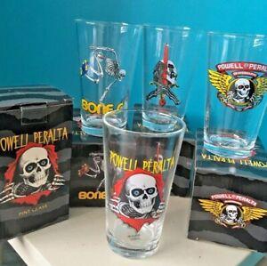 POWELL-PERALTA-PINT-GLASS-Set-of-4-Bones-Brigade-4-design-Ripper-Skull-USA-Pint