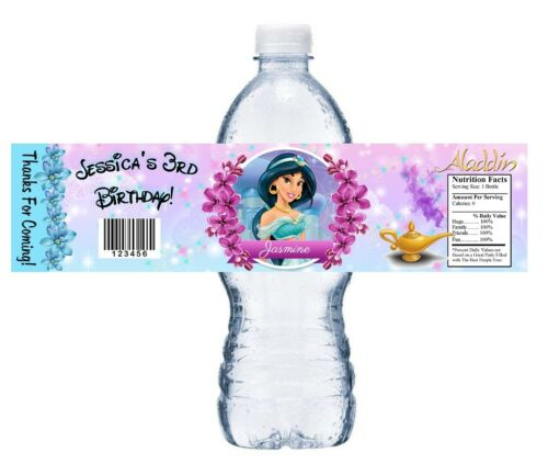10 PRINCESS JASMINE ALADDIN BIRTHDAY PARTY FAVORS WATER BOTTLE LABELS WRAPPERS