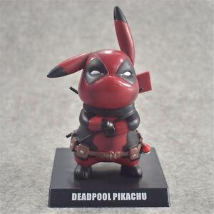 14cm-Anime-Pokemon-Pikachu-Cosplay-Deadpool-PVC-Figure-Statue-Anime-Toy-Hero