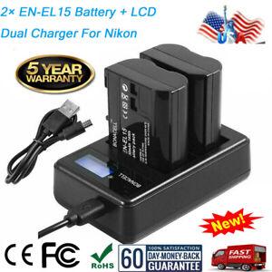 US-2x-EN-EL15-Battery-LCD-Dual-Charger-for-Nikon-D600-D750-D800-D7000-D7200-USPS