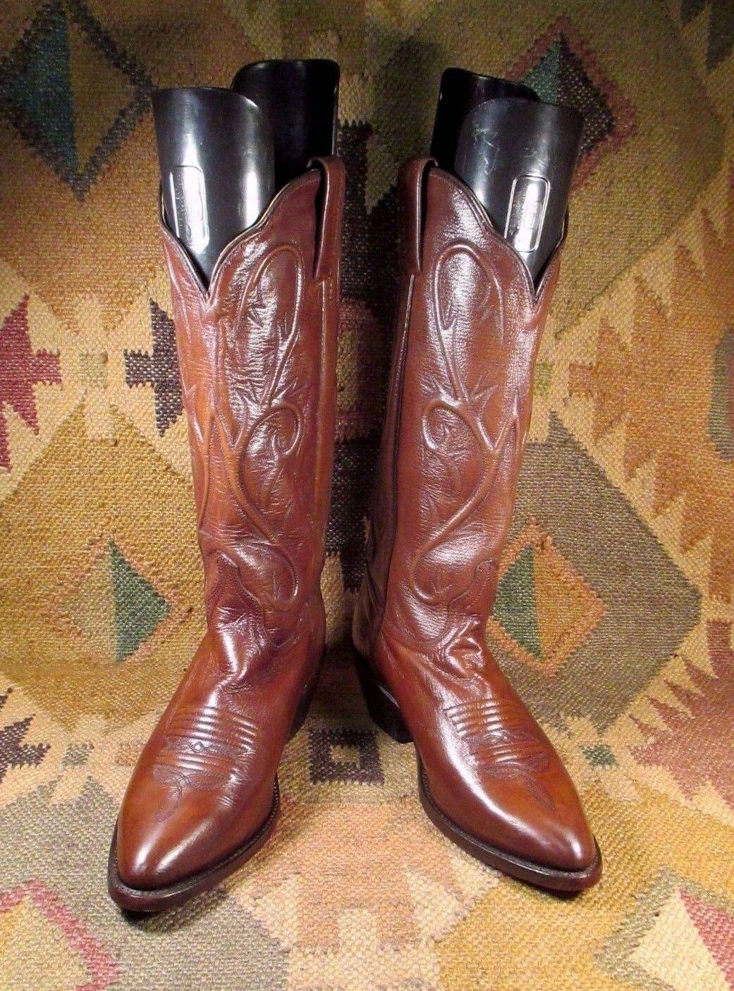 VINTAGE90s DAN POST CP 3211 BROWN LEATHER COWBOY M WESTERN BOOTS size 7.5 M COWBOY MEXICO dfbbab