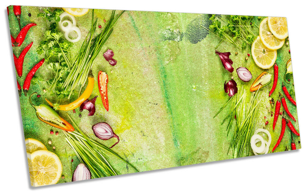 Kitchen Fruit Vegetable Grün Picture PANORAMIC CANVAS WALL ART Print