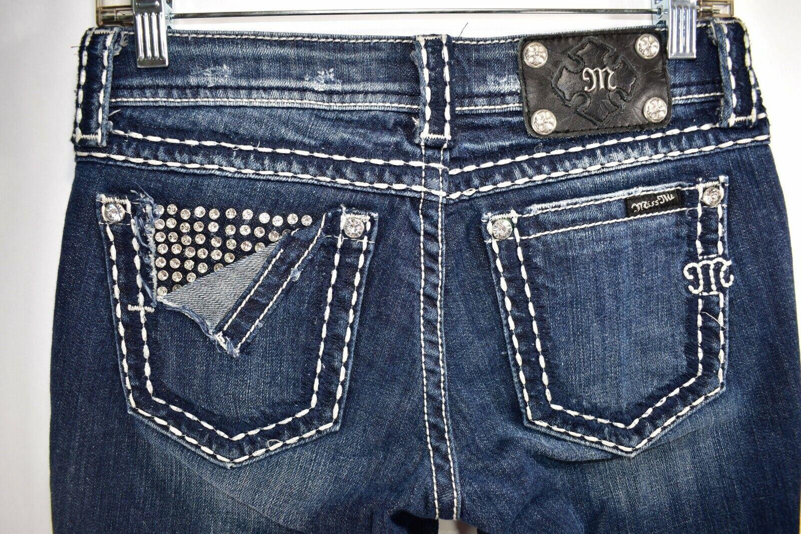 Miss Me Jeans Skinny Stretch Rhinestones Peek Tag Size 27x31 Womens Meas. 28x31