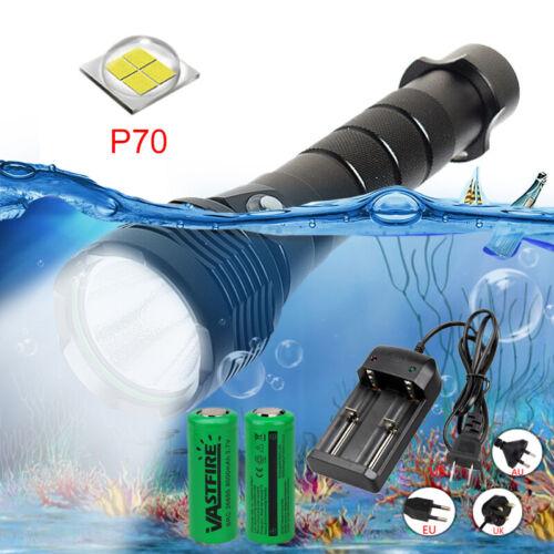 XHP70 LED Flashlight Diving Torch Scuba 30W Powerful Light Underwater 100M Deep