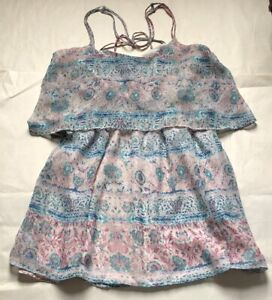 Urban-Outfitters-Ecote-dress-creme-pink-teal-size-XS