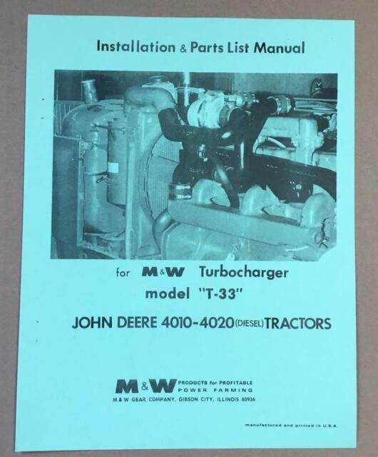 JOHN DEERE 4010 4020 M /& W TURBO CHARGER KIT T24 MANUAL