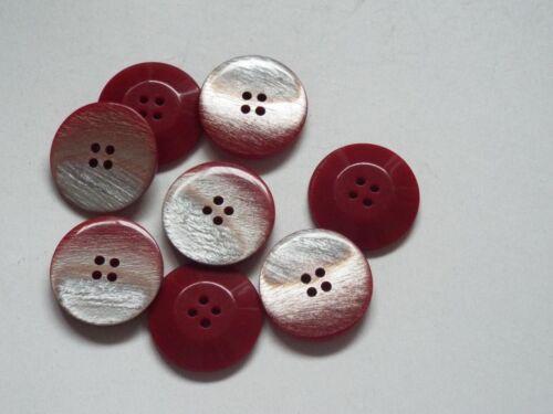 8pc 18 mm rouge avec Argent Flash Manteau Cardigan Pantalon Chemise Couture Boutons 0316