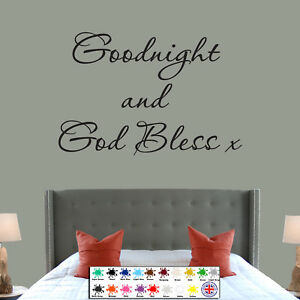 Goodnight And God Bless Wall Sticker Lovely Quote Bedroom