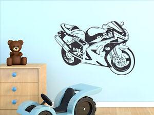 Details zu Wandtattoo für Jungs Aufkleber Wandaufkleber für Wohnzimmer  Motorrad Sport