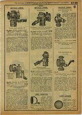 1918 ADVERT Acetylene Kerosene Oil Bicycle Lamp Old Sol Solar Everlit Generator