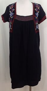 Old-Navy-Womens-Size-Medium-Tall-Dress-Black-Embroidery-Boho-Artsy-Lined-925F