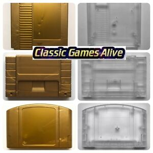 Zelda-Gold-Cart-Gray-Shell-Clear-Case-for-N64-SNES-and-NES-replacement