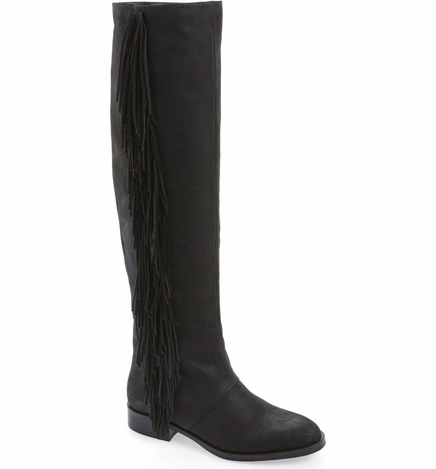 275 SAM EDELMAN New Josephine Tall Tall Tall Fringe Leather Riding Boots Black Size 5 488b61