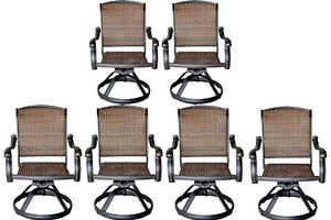 Super Details About Wicker Swivel Rocker Patio Chairs Set Of 6 Outdoor Cast Aluminum Furniture Cjindustries Chair Design For Home Cjindustriesco