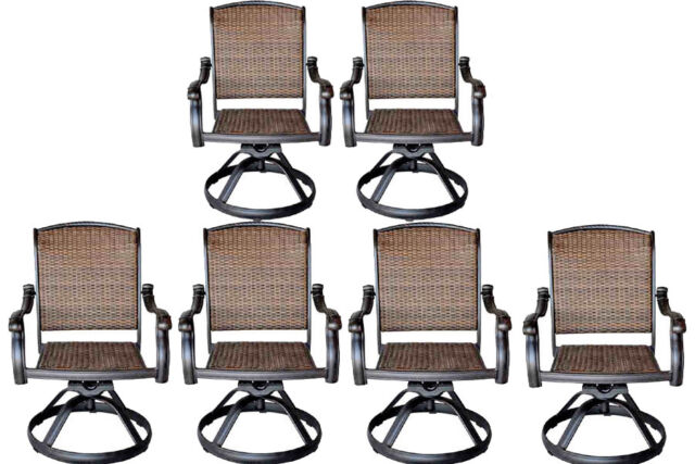 Patio Outdoor Furniture Swivel Rocker Dining Chair Set Of 6 Cast