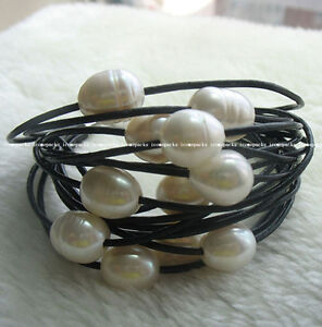 UNIQUE-15rows-7-5-034-freshwater-pearl-white-egg-bracelet-amp-leather-wholesale-beads