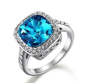 Stunning 18K White Gold GF Blue SWAROVSKI Crystal Wedding Engagement Ring Gift