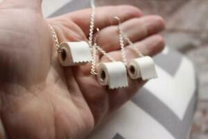 Mode-Toilettenpapierrolle-Halskette-amp-Ohrringe-amp-Stift-Set-Kette-Handgefertigt