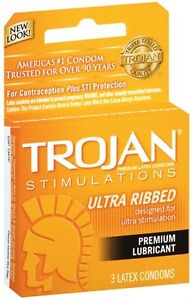 Trojan Stimulations Ultra Ribbed Lubricated Condoms 3 Pack