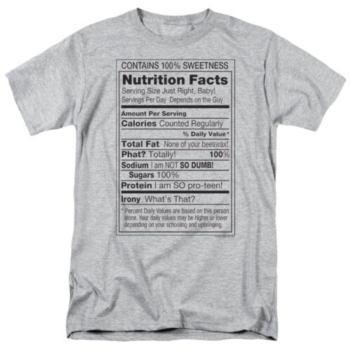 NUTRITION FACTS LABEL 100/% SWEETNESS Adult T-Shirt All Sizes