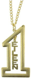 "Vintage Gold Tone Number #1 Name Plate Pendant 2 1/2"" + Necklace 22"" - Eileen"