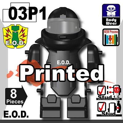 Vest compatible with toy brick minifigures police Black EOD bomb suit W279