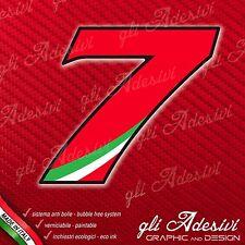 Adesivo Stickers NUMERO 7 moto auto cross gara Rosso & Tricolore 5 cm