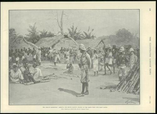 104 1896 Antique Print AFRICA GHANA Ashanti Cape Coast Castle Nkroful Akroful