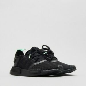 best service 74bfa c7792 Details about ADIDAS NMD R1 BLACK MINT GLOW WOMENS RUNNING SHOES AQ1102