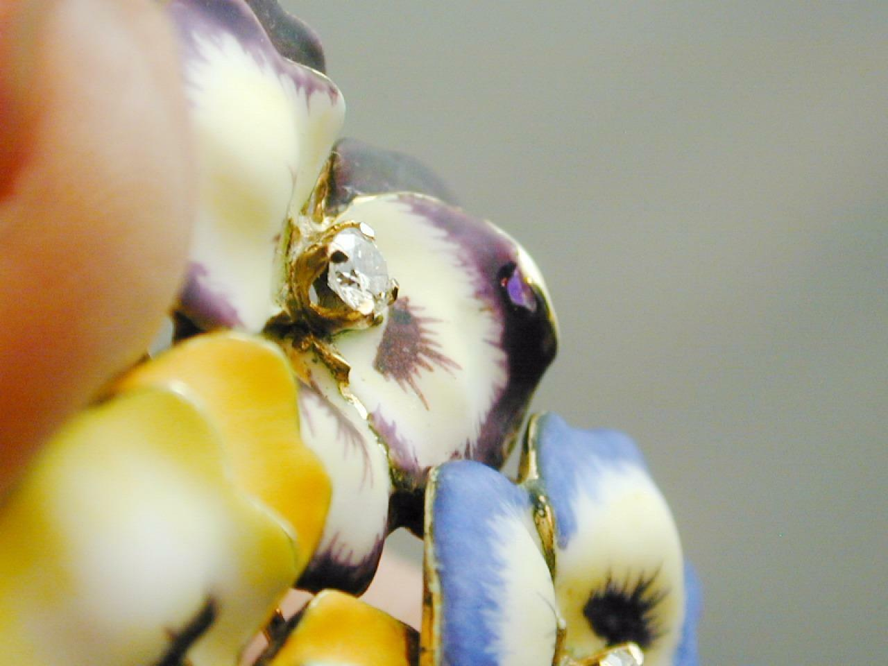 RARE 14k Gold & Diamond Enamel TRIPLE Pansy Pin P… - image 7
