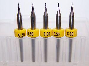 "(5) 0.50mm (.0197"") 2 FLUTE MICRO CARBIDE ENDMILLS Kyocera 1600.0197.079"