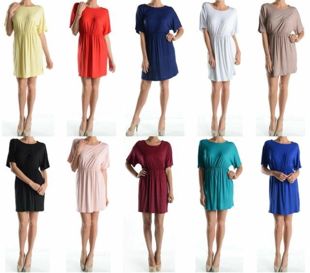 Women Round Neck Short Sleeve Flare Waistband Pleated Long Tunic Top Shirt Dress