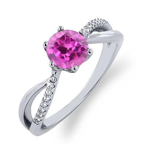 14KT White gold 1.80 Carat Natural Pink Tourmaline EGL Certified Diamond Ring